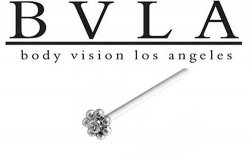 BVLA 14kt Gold 4mm Tiny Bead Cluster Flower w/ Gem Nostril Screw Nose Bone Nail Ring Stud 20g 18g 16g Body Vision Los Angeles