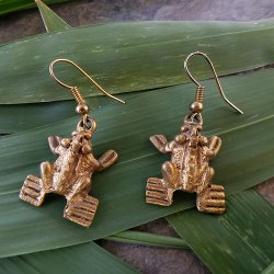 Pre-Columbian Design Bronze Frogs Earrings #7 (Pair)