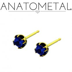 Anatometal Titanium 3mm Princess Earrings (Pair)