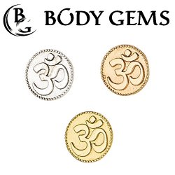 "Body Gems 14kt Gold ""Om"" Threaded End Dermal Top 18 Gauge 16 Gauge 14 Gauge 12 Gauge 18g 16g 14g 12g"