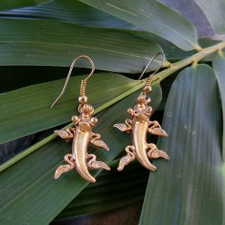 Pre-Columbian Design Bronze Chameleon Earrings #1 (Pair)