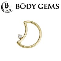 Body Gems 14kt Gold LunEar Daith Ring with 2mm Gem 16 Gauge 14 Gauge 16g 14g
