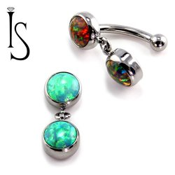 IS Titanium Fixed Top Bezel-set Faux-pal Cab Gem Curved Barbell w/ 6mm Dangle 14 gauge 14g