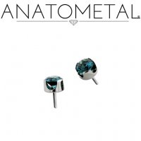 Anatometal Titanium Threadless 2.5mm Prong-Set Faceted Gem End 18g 16g 14g (25g Pin Universal) Threadless Posts Press-fit