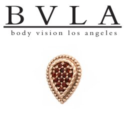 "BVLA 14Kt Gold ""Kendra"" Pave Pear Threaded End Dermal Top 18g 16g 14g 12g Body Vision Los Angeles"