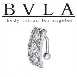 BVLA 14kt Gold Byzantine Genuine Diamond Navel Curved Barbell 14 Gauge 14g Body Vision Los Angeles