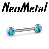 "14 Gauge 14g NeoMetal Threadless Titanium Side-set Forward Facing Cabochon Gem Barbell ""Press-fit"""
