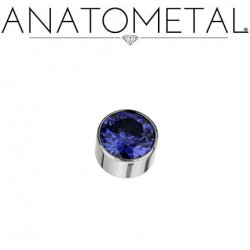 Anatometal Titanium Threaded 6mm Bezel-set Faceted Gem End 14 Gauge 12 Gauge 10 Gauge 8 Gauge 14g 12g 10g 8g