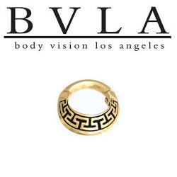 "BVLA 14kt Gold ""Aztec Dawn"" Septum Clicker Ring 14 Gauge 14g Body Vision Los Angeles"
