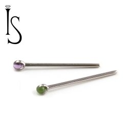 Industrial Strength Titanium 2mm 3 Prong-set Natural Stone Nostril Screw Nose Ring 20 Gauge 18 Gauge 20g 18g