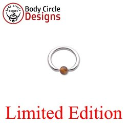 "Body Circle Surgical Stainless Steel 1/2"" Flat Tip Captive Bead Ring with Tiger Eye Bead 14 Gauge 14g"