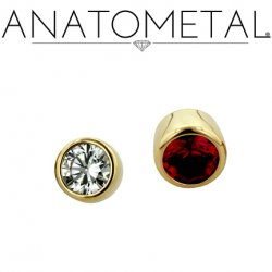 Anatometal 18kt Gold Threaded 4mm Bezel-set Faceted Gem End 18g 16g 14g 12g