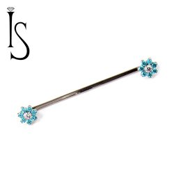 IS Titanium Flat Surface Barbell w/ 7 PetalFlower Ends 16 Gauge 14 Gauge 16g 14g