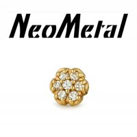 "18 gauge 18g NeoMetal Threadless Round Flower Gem End 14kt Gold ""Press-fit"""