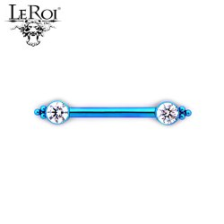 Le Roi Titanium Side-set Gem Barbell 6 Bead Accents 14 Gauge 12 Gauge 14g 12g