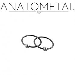 Anatometal Niobium Captive Bead Ring with Stainless Steel Bead 20 Gauge 18 Gauge 20g 18g