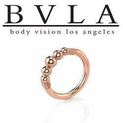 BVLA 14kt Gold Myla 5 Bead Nose Nostril Septum Ring 18g Body Vision Los Angeles