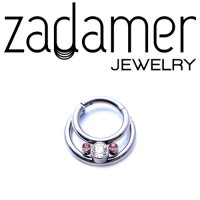 Zadamer Titanium Hinged Crescent Double with 3 Gem Cluster Septum Clicker Daith Helix Hinged Ring 16 Gauge 14 Gauge 16g 14g