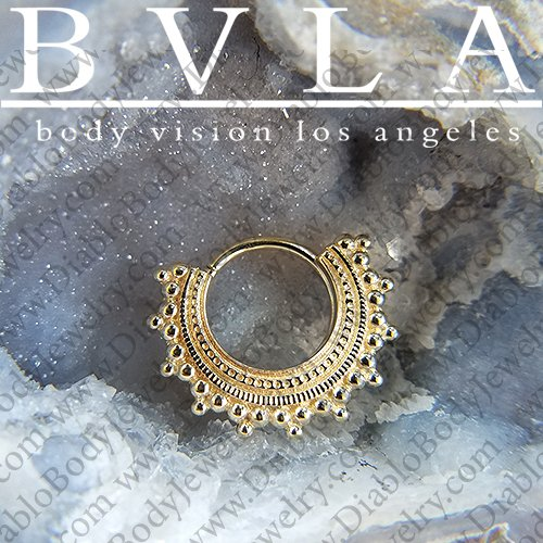 "BVLA 14kt Gold ""Afghan"" Septum Seam Ring 18 Gauge 18g Body Vision Los Angeles - Click Image to Close"