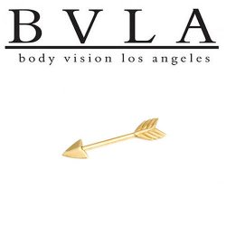 "BVLA 14kt Gold ""Robin Hood"" Industrial Barbell 12g Body Vision Los Angeles"