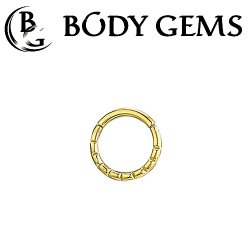 Body Gems 14kt Gold Beaded Clicker Septum Daith Ring 14 Gauge 14g