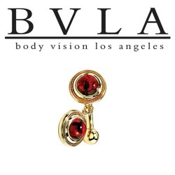 BVLA 14kt Gold Madrid Mozambique Garnet Cabochon Navel Curved Barbell 14 gauge 14g Body Vision Los Angeles