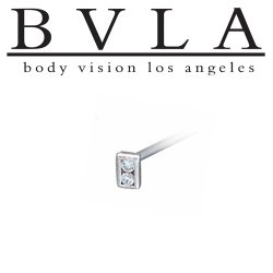 "BVLA 14kt Gold Rectangle ""Illusion"" Nostril Screw Nose Bone Ring Stud Nail 20g 18g 16g Body Vision Los Angeles"