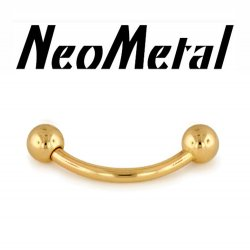 NeoMetal Threadless 14kt Gold Curved Barbell 16 Gauge 16g