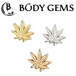 "Body Gems 14kt Gold ""Leaf"" Threaded End Dermal Top 18 Gauge 16 Gauge 14 Gauge 12 Gauge 18g 16g 14g 12g"