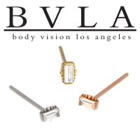 BVLA 14kt Gold Beaded Baguette 2mm x 4mm Nostril Screw Nose Bone Ring Stud Nail 20g 18g 16g Body Vision Los Angeles