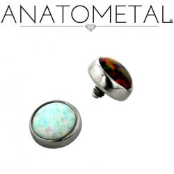 Anatometal Anatometal Titanium Threaded 8mm Bezel-set Cabochon Gem End 6 Gauge 4 Gauge 2 Gauge 6g 4g 2g