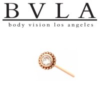 "BVLA ""Beaded Choctaw"" 6mm Nostril Screw Nose Bone BVLA 14kt Gold 3mm Genuine Diamond 20g 18g Body Vision Los Angeles"