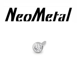 "18 gauge 18g NeoMetal Threadless Titanium 1.5mm Bezel-Set Genuine Diamond End ""Press-fit"""