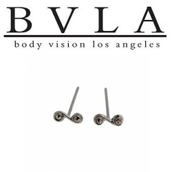 BVLA 14kt Yellow White Rose Gold Double Swirl Nostril Screw Nose Bone Ring Stud Nail 20g 18g 16g Body Vision Los Angeles