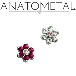 Anatometal Surgical Steel Threaded 5.5mm Flower 1.5mm gems 18 gauge 16 gauge 18g 16g