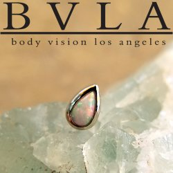 BVLA 14kt Gold Bezel-set Pear Cabochon 5mm x 3mm Threaded End 18g 16g 14g 12g Body Vision Los Angeles