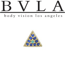 "BVLA 14Kt Gold ""Step Up Triangle"" Threaded End Dermal Top 18g 16g 14g 12g Body Vision Los Angeles"