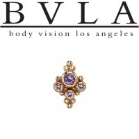 "BVLA 14kt Gold Small Round ""Sarai"" Threaded Gem End Dermal Top 18g 16g 14g 12g Body Vision Los Angeles"
