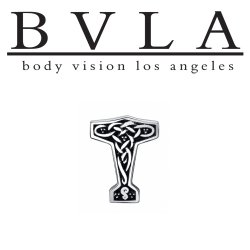 "BVLA 14kt Gold ""Thor's Hammer"" Threaded End Dermal Top 18g 16g 14g 12g Body Vision Los Angeles"