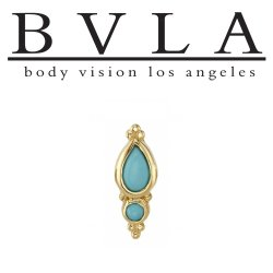 "BVLA 14kt Gold ""Mai"" Threaded End Dermal Top 18g 16g 14g 12g Body Vision Los Angeles"