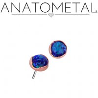 Anatometal Titanium Threadless 3mm Prong-set Cabochon Gem End 18g 16g 14g (25g Pin Universal) Threadless Posts Press-fit