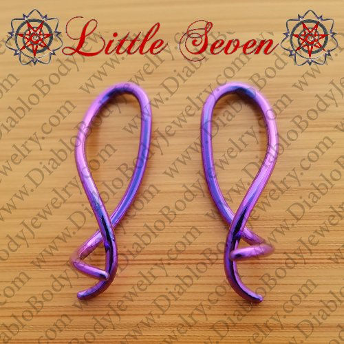 "Little Seven Niobium ""Squid"" Hanging Twists 12 Gauge 12g (Pair) - Click Image to Close"