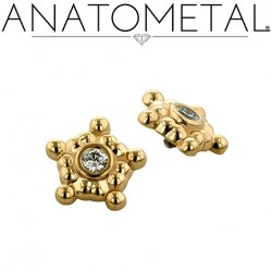Anatometal 18kt Gold 5 Cluster Sabrina End 2mm gem 18g 16g 14g 12g