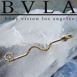"BVLA 14kt Gold ""Serpent"" Industrial Barbell 14 gauge 14g Body Vision Los Angeles"
