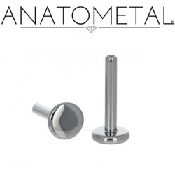 "Anatometal Threadless Titanium Flatback Disk Labret Post Stud Lip Ring 18 Gauge 18g ""Press-fit"""