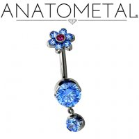 Anatometal Titanium 6mm Prong-set Navel Curve Belly Button Ring w/ 1 4mm Prong-set Dangle and Gem Flower Top 14 Gauge 12 Gauge 14g 12g