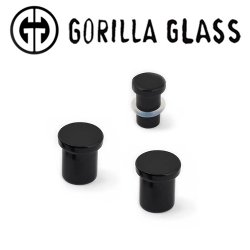 "Gorilla Glass Obsidian Single Flare Plugs 0 Gauge to 1"" (Pair)"