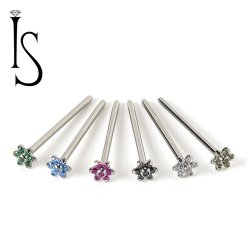 Industrial Strength Titanium 4mm Flower Nostril Screw Nose Ring 20 Gauge 18 Gauge 20g 18g