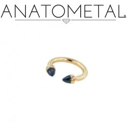Anatometal 18kt Gold Circular Barbell with 18kt Gold Bullet Cone Ends 14g