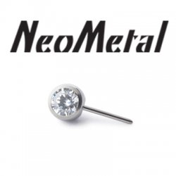 "NeoMetal Threadless Titanium Side-Gem Ball 2.5mm for 16 Gauge Curved Barbell ""Press-fit"" 16g"